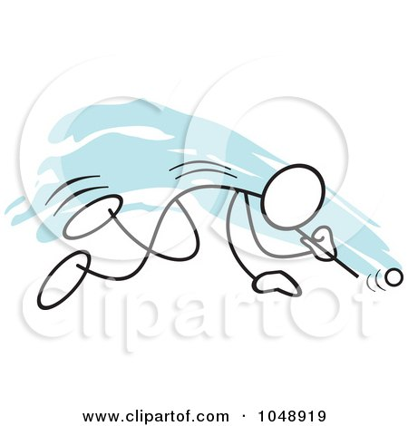 Royalty-Free (RF) Clip Art Illustration of a Stickler Doing A Ping Pong Ball Blow Race Over Blue by Johnny Sajem