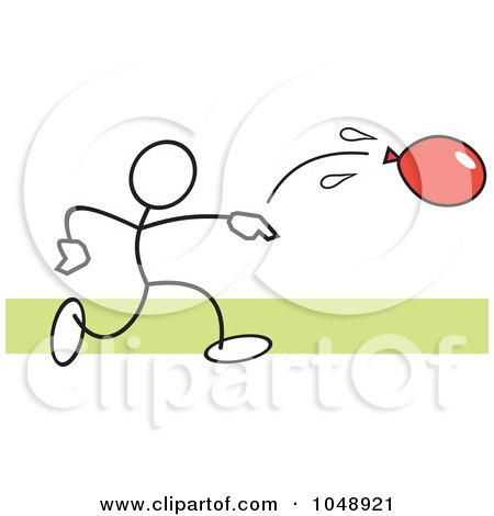 Royalty-Free (RF) Clip Art Illustration of a Stickler Throwing A Water Balloon Over Green by Johnny Sajem
