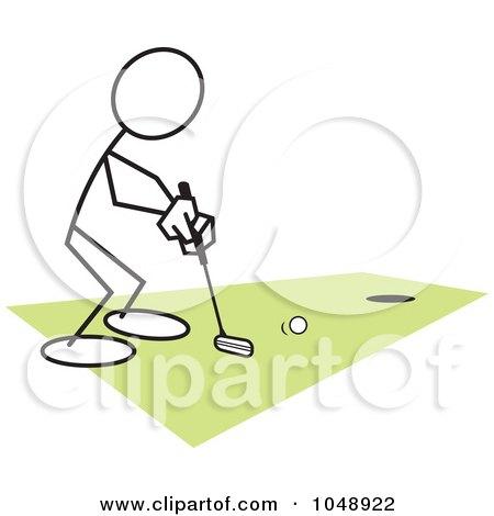 Royalty-Free (RF) Clip Art Illustration of a Stickler Golfing by Johnny Sajem