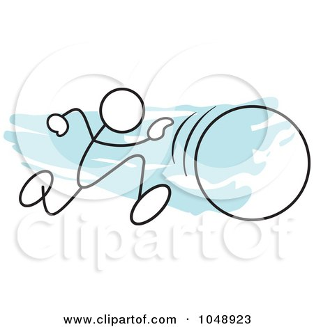 Royalty-Free (RF) Clip Art Illustration of a Stickler Running In A Hula Hoop Race Over Blue by Johnny Sajem