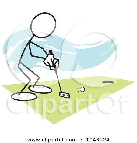 Royalty-Free (RF) Clip Art Illustration of a Stickler Golfing Over Blue by Johnny Sajem
