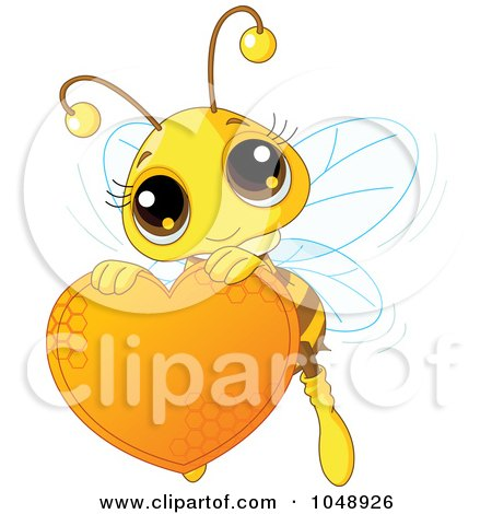 Cute Bee Holding A Honey Valentine Heart Posters, Art Prints