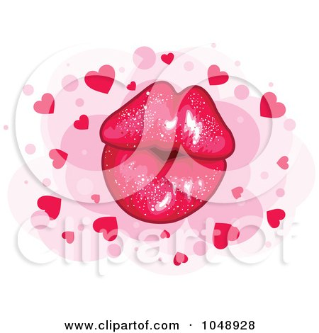 Royalty-free clipart picture of a sparkly pair of puckered lips over pink