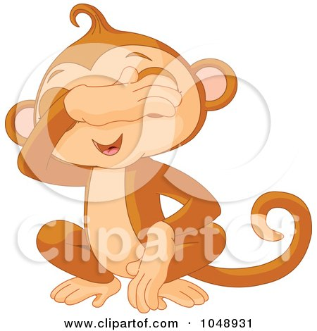 Royalty-Free (RF) Clip Art Illustration of a Cute See No Evil Monkey by Pushkin
