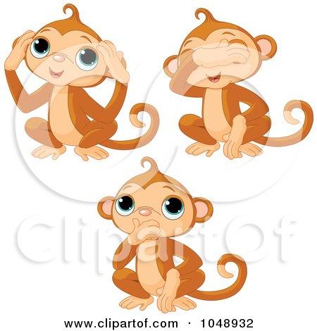 Royalty-Free (RF) Clip Art Illustration of a Digital Collage Of Cute No Evil Monkeys by Pushkin