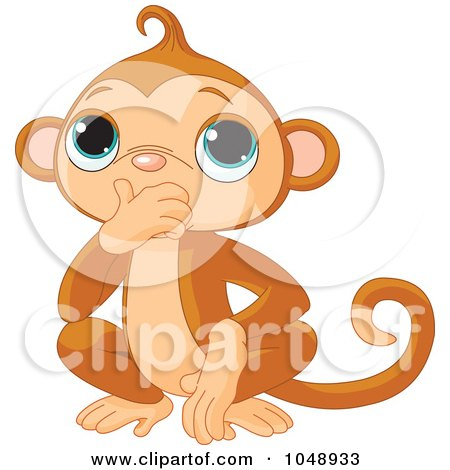 Royalty-Free (RF) Clip Art Illustration of a Cute Speak No Evil Monkey by Pushkin