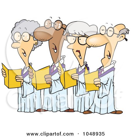Royalty-Free (RF) Clip Art Illustration of a Cartoon Choir Of Seniors by toonaday