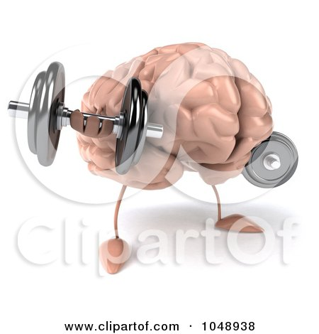 Royalty-Free (RF) Clip Art Illustration of a 3d Brain Character Weightlifting by Julos