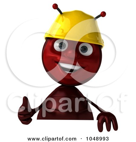 Royalty-Free (RF) Clip Art Illustration of a 3d Worker Ant Holding A Blank Sign With A Thumbs Up by Julos
