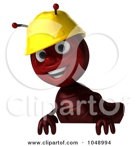 Royalty-Free (RF) Clip Art Illustration of a 3d Worker Ant Standing Behind A Blank Sign by Julos