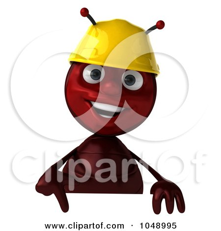 Royalty-Free (RF) Clip Art Illustration of a 3d Worker Ant Holding A Blank Sign by Julos