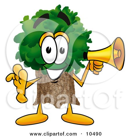 Clipart Picture of a Tree Mascot Cartoon Character Holding a Megaphone by Toons4Biz