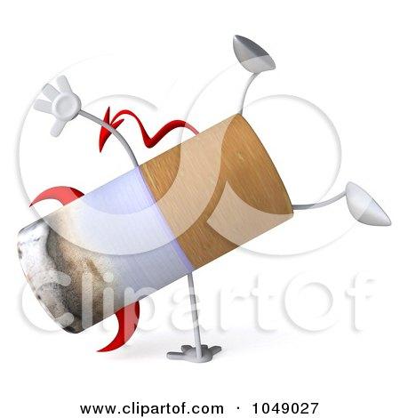 Royalty-Free (RF) Clip Art Illustration of a 3d Devil Cigarette Doing A Cartwheel by Julos