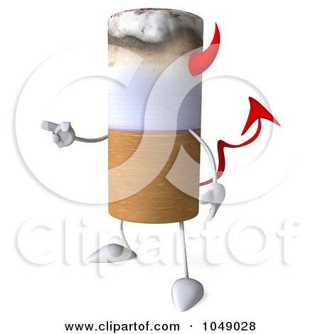 Royalty-Free (RF) Clip Art Illustration of a 3d Devil Cigarette Pointing Left by Julos