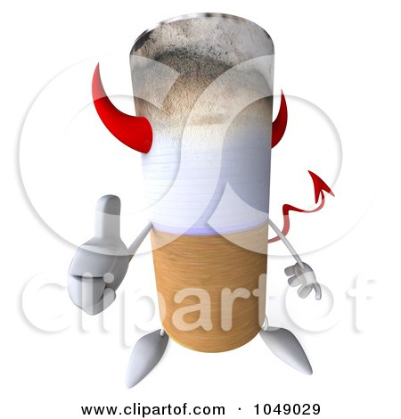 Royalty-Free (RF) Clip Art Illustration of a 3d Devil Cigarette Holding A Thumb Up by Julos