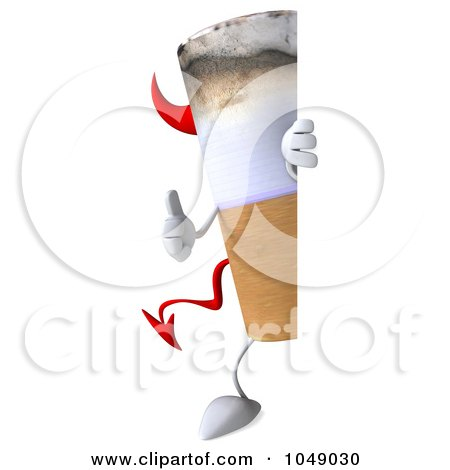 Royalty-Free (RF) Clip Art Illustration of a 3d Devil Cigarette Looking Around A Blank Sign by Julos