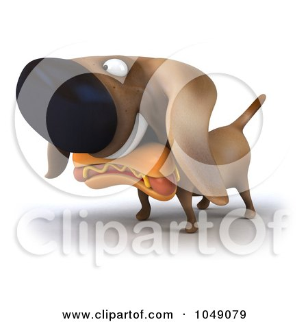 Royalty-Free (RF) Clip Art Illustration of a 3d Wiener Dog With A Hot Dog by Julos