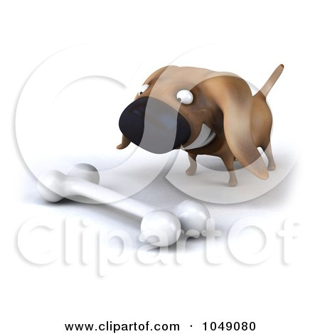 Royalty-Free (RF) Clip Art Illustration of a 3d Wiener Dog With A Bone by Julos