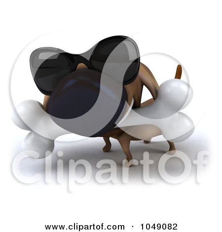 Royalty-Free (RF) Clip Art Illustration of a 3d Wiener Dog With A Bone And Shades by Julos