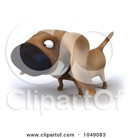 Royalty-Free (RF) Clip Art Illustration of a 3d Wiener Dog Smiling - 1 by Julos