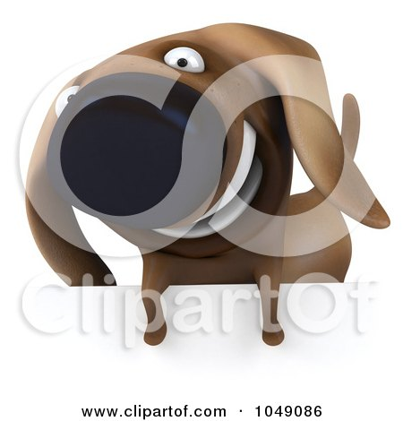 Royalty-Free (RF) Clip Art Illustration of a 3d Wiener Dog Smiling Over A Blank Sign by Julos