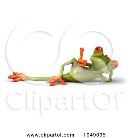 Royalty-Free (RF) Clip Art Illustration of a 3d Springer Frog Reclined With A Thumb Up by Julos