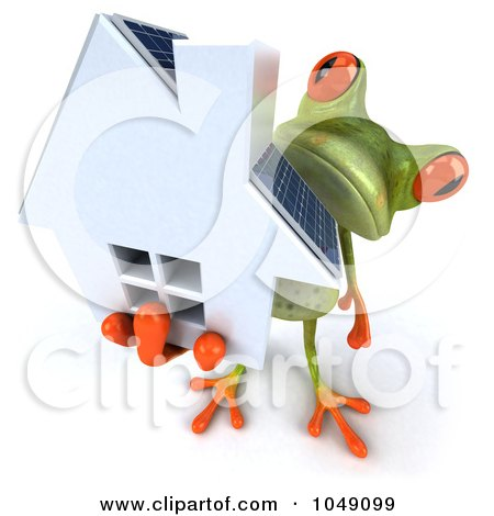 Royalty-Free (RF) Clip Art Illustration of a 3d Springer Frog Holding A Home With Solar Panels by Julos