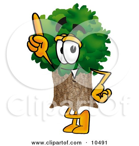 Clipart Picture of a Tree Mascot Cartoon Character Pointing Upwards by Toons4Biz