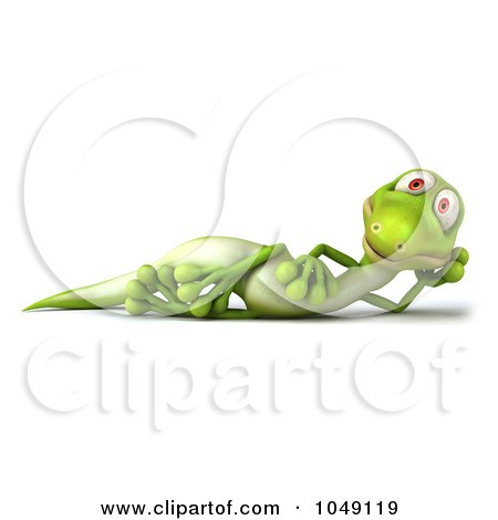 Royalty-Free (RF) Clip Art Illustration of a 3d Lizard Reclined by Julos
