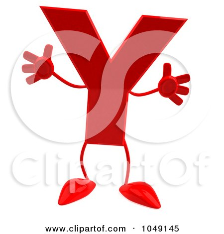 Royalty-Free (RF) Clip Art Illustration of a 3d Red Letter Y Character by Julos