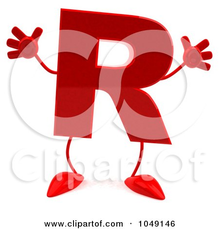 Royalty-Free (RF) Clip Art Illustration of a 3d Red Letter R Character by Julos
