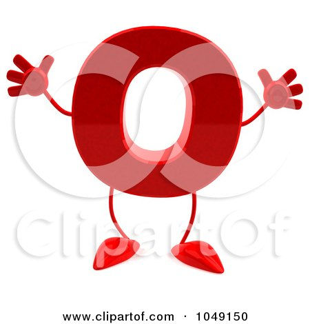 Royalty-Free (RF) Clip Art Illustration of a 3d Red Letter O Character by Julos
