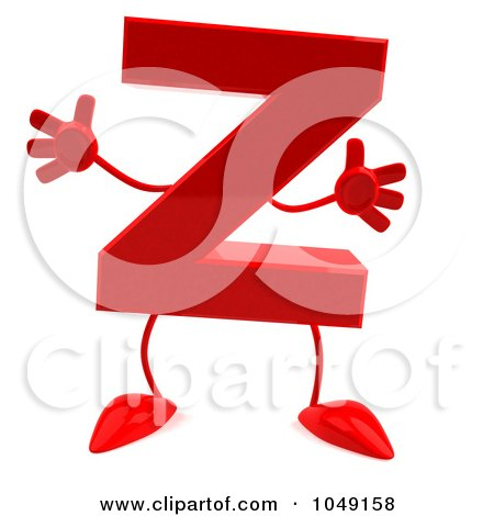 Royalty-Free (RF) Clip Art Illustration of a 3d Red Letter Z Character by Julos