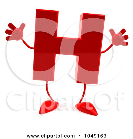 Royalty-Free (RF) Clip Art Illustration of a 3d Red Letter H Character by Julos