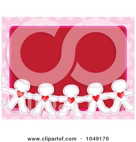 Royalty-Free (RF) Clip Art Illustration of a Valentine Background Of A Line Of Paper Dolls With Hearts Over Red With A Pink Border by Maria Bell