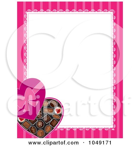 Royalty-Free (RF) Clip Art Illustration of a Valentines Day Border Of A Box Of Heart Chocolates And Pink Around White by Maria Bell