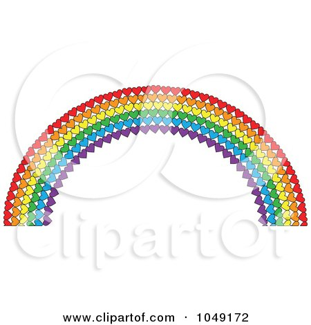 Royalty-Free (RF) Clip Art Illustration of a Valentine Background Of A Heart Rainbow by Maria Bell