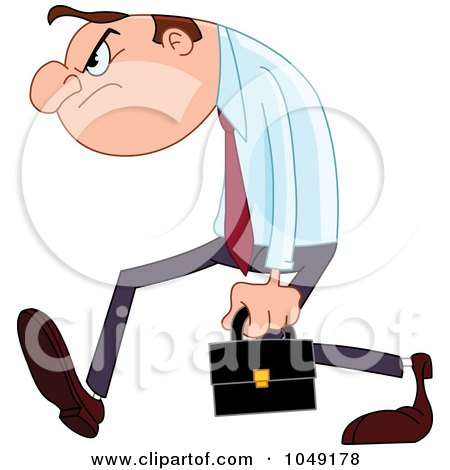 Royalty-Free (RF) Clip Art Illustration of a Grumpy Businessman Walking by yayayoyo