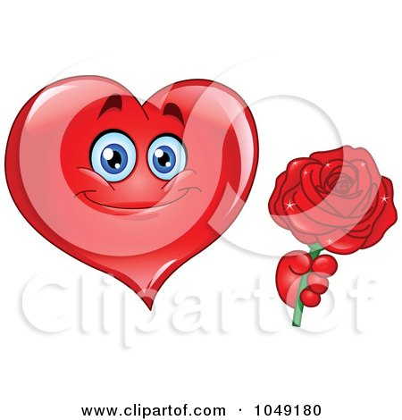 Royalty-Free (RF) Clip Art Illustration of a Romantic Heart Guy Holding Out A Red Rose by yayayoyo