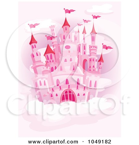 Royalty-Free (RF) Clip Art Illustration of a Pink Castle In A Cloudy Pink Sky. by yayayoyo