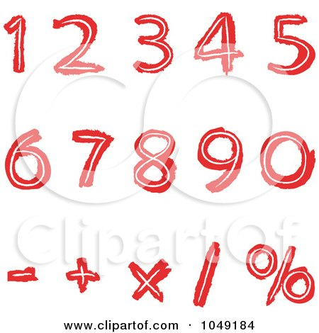 Royalty-Free (RF) Clip Art Illustration of a Digital Collage Of Red Hand Drawn Numbers And Math Symbols by yayayoyo