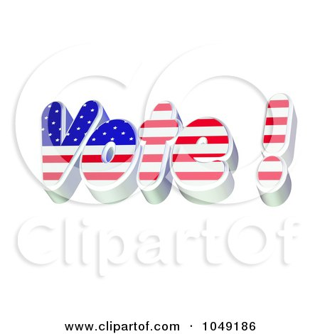 Royalty-Free (RF) Clip Art Illustration of a 3d Red White And Blue VOTE! by MacX