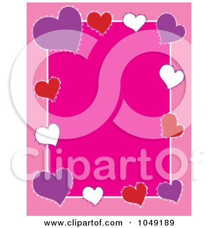 Royalty-Free (RF) Clip Art Illustration of a Border Frame Of Colorful Valentine Hearts Over Pink by Maria Bell