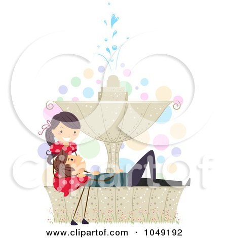 Royalty-Free (RF) Clip Art Illustration of a Valentine Stick Couple Relaxing On A Fountain by BNP Design Studio