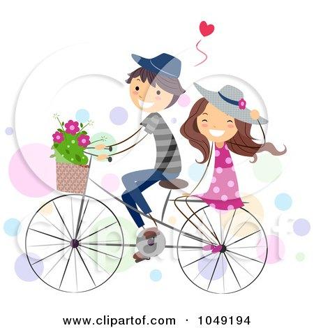 Royalty-Free (RF) Clip Art Illustration of a Valentine Stick Couple Riding A Bike by BNP Design Studio