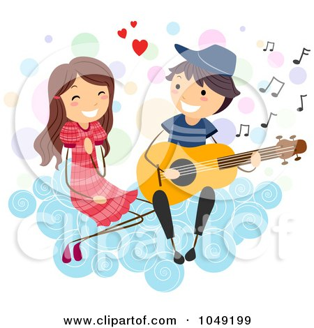Royalty-Free (RF) Clip Art Illustration of a Valentine Stick Boy Serenading A Girl On A Cloud by BNP Design Studio