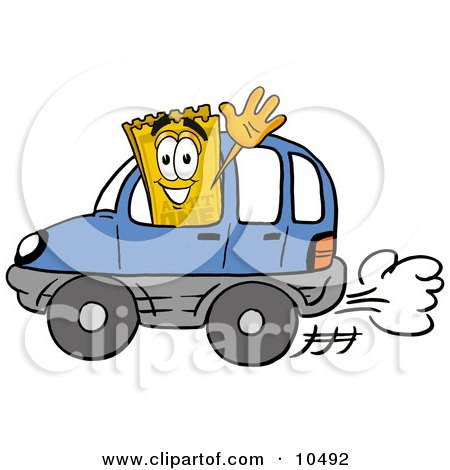 Clipart Picture of a Yellow Admission Ticket Mascot Cartoon Character Driving a Blue Car and Waving by Toons4Biz