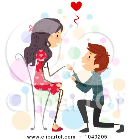 Royalty-Free (RF) Clip Art Illustration of a Valentine Stick Boy Proposing To His Girlfriend by BNP Design Studio