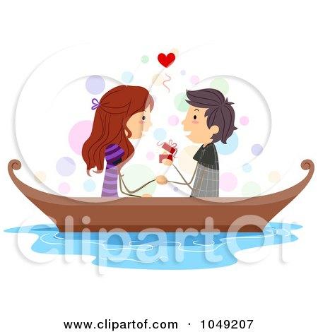 Royalty-Free (RF) Clip Art Illustration of a Valentine Stick Boy Proposing To His Girlfriend In A Boat by BNP Design Studio