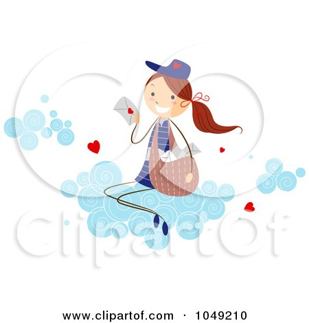 Valentine Stick Mail Girl Delivering Love Letters On A Cloud Posters, Art Prints